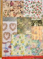 12/LOT VTG Gift Wrap Wrapping Paper VICTORIAN Rose FLORAL Clock CRAFT