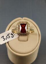 Gr. 54 Damenring Goldring 585 Gold Echtgold Roter Stein Antragsring