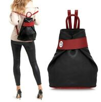 Ladies Handbag Italian Leather Backpack Vera Pelle Black / Red Womens Bag