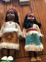 Pair Of (2) Vintage Native American Indian Dolls Leather Dress Beads Fringe