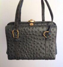 VTG RARE Rosenfeld Gray Ostrich Small Satchel Handbag Bag Evening Purse