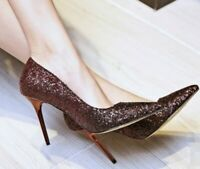 Womens Pointed Toe High Metal Stiletto Heel  Shoes Color Stitching Slip On Chic