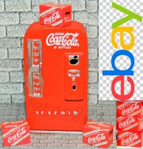 6 RED COCA-COLA CASES plus VENDING MACHINE 1:24 (G) SCALE DIORAMA MINIATURE!