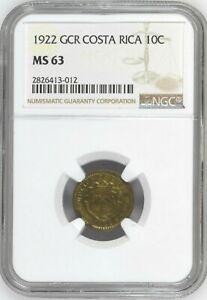 Costa Rica: 10 Centimos 1922 GCR, NGC MS-63, KM# 152 Brass