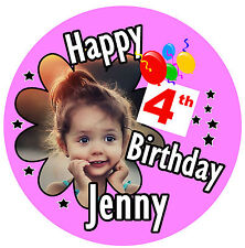 GIRLS BIRTHDAY BIG BADGE PERSONALISED, NAME, ANY AGE, PHOTO, ANY COLOURS - NEW