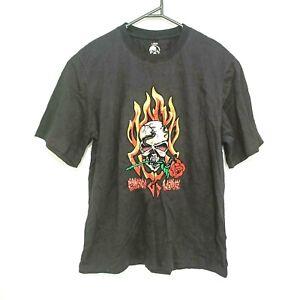 Dark Attitude Mens T-Shirt Black Skull Fire Roses Gothic Graphic Crew-Neck Tee