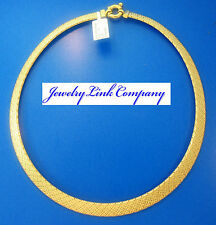 """14K Yellow Gold 10mm Fancy Graduated Woven Omega Necklace 18"""" 9.6grams"""