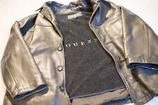 Vintage Leather Guess Jacket Fur Lining Large Button Up
