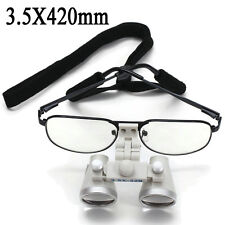 Dental Surgical Medical Binocular Loupes 3.5X 420mm Optical Glass Metal Frame CE