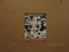 Ahl Syracuse Crunch Vintage Circa 2001-2002 Team Logo Hockey Pocket Schedule