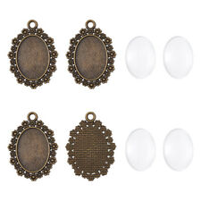 10 Set Bronze Alloy Flower Cabochon Pendant Making Setting w/ Glass 25x18mm Tray
