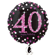 40th Happy Birthday Foil Balloon Black & Pink Party Decorations Age 40