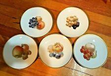 """Vintage FRUIT Plates (5) THOMAS 3206 Bavaria 7.5"""" salad~ Germany @1908+"""