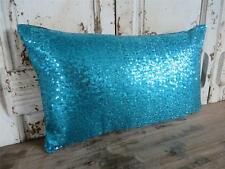 Turquoise/teal Sequins Oblong/rectangle Cushion Cover Pillow Case Decor 30x50
