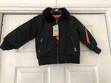 Black Age 6 Months Flight Jacket Coat Bomber Padded Lined Fur Collar Zip DS63