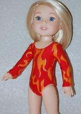 """Gymnastics Leotard for 14"""" Wellie Wishers Doll Clothes by TKCT Red Flames"""