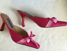 ea9f27562f5 Blue Dragon Women s Pink Slip On Mules Heels Shoes With Pink Ribbon Size 8
