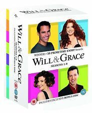 WILL AND GRACE Complete Seasons Series 1 2 3 4 5 6 7 & 8 1-8 DVD Box Set R2 New