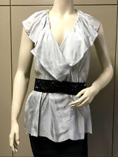 $238 BCBG PEARL GREY COM (VUA1B541) SLEEVELESS RUFFLE  V-NECK (BELT) TOP NWT L
