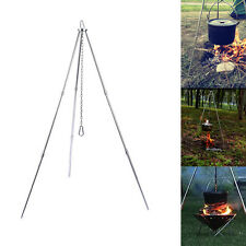 Outdoor Cooking Tripod Campfire Camping Cookware Pan Holder 3 Legs