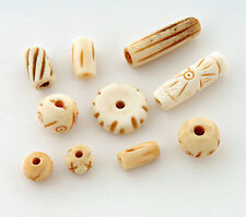 Mixed bone beads x 20 buffalo bone hand carved India fairtrade craft jewellery
