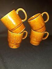 Unique Vintage Symbols Design~Set of 4~Japan~Ceramic Stacking Mugs~Brown Glaze