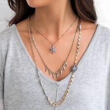Rose & Peonía Distintivo Collar Estrella picos ámbar Diamantes de Imitación Capa