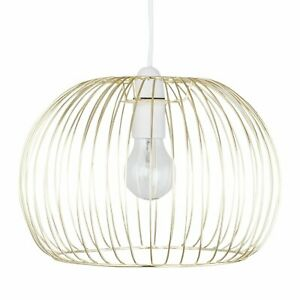 Modern Gold Satin Brass Ceiling Light Shade Pendant Metal Wire Easy Fit Shade