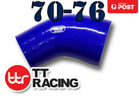 """Silicone 45 Degree Reducer Elbow Turbo Hose 70mm - 76mm 2.75""""- 3"""" Blue"""