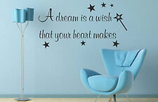 Dream Is A Wish That Your Heart Makes Wall Stickers Quotes Decals Art Bedroom B3