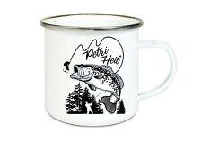 Emaille Tasse- Angeln-Angler Petri Heil Fisch bedruckt mit Wunschtext Geschenk