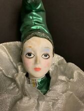 """Large Vintage Porcelain Clown Pierrot Doll 19"""" Green and Silver"""