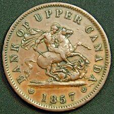 1857 Bank of Upper Canada One Penny Bank Token - Breton# 719 - Charlton# PC6D