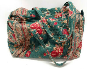 VINTAGE VERA BRADLEY XL DUFFLE BAG IN GREEN/RED FLORAL~INDIANA, USA ~ EUC