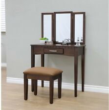 Espresso Vanity Set 3 Piece Bedroom Mirror Table Furniture Wood Home  Decorative Vanities Makeup Tables eBay