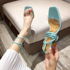 Womens Cross Strap Bandage Lace Up Square Toe Sandals Med Heels Stilettos Shoes