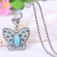 New Vintage Turquoise Butterfly Crystal Inlay Pendant Silver Necklace Chain