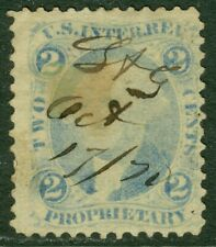 EDW1949SELL : USA 1862-71 Scott #R13e Ultramarine. Used. Small faults. Cat $300.