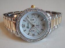 Women's Silver & Gold Dressy/Casual Rhinestones Boyfriend Fashion Wrist Watch