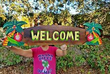 """X-Large """"Handcarved & Painted """"Welcome"""" Sign With Unique Palm Tree & Hibiscus!"""