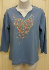 Quacker Factory Blue Top Shirt FLORAL Embroidery Heart Bling Split V Neck New XS
