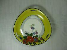 Noritake Morimura Lusterware Triangle Floral Bowl Yellow Rim Black Trim 1921-24