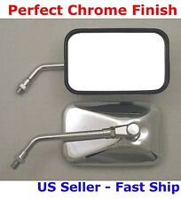 Pair Chrome Rectangular Motorcycle Mirrors - Honda VTX 1300 VTX 1800