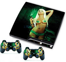 TOP SALE Sexy Cool Girl Skin Sticker for PS3 Slim Console Controller Games Cover