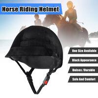 Unisex Adults Velvet Horse Riding Helmet Head Cap Equestrian Safety Hat Black