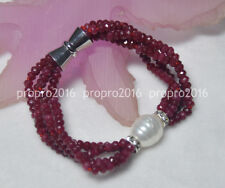 NATURAL 2x4mm RUBY FACETED BEADS BRECELET+SHELL PEARL PENDANT 7.5INCH J3239