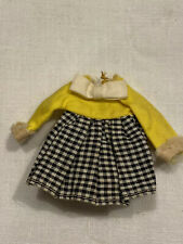 Vintage Mattel Tutti yellow and black and white checked dress