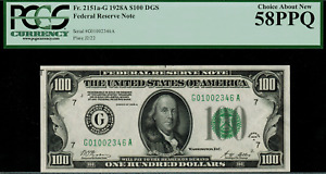 1928A $100 Federal Reserve Note - Chicago FR. 2151-G - Graded PCGS 58PPQ