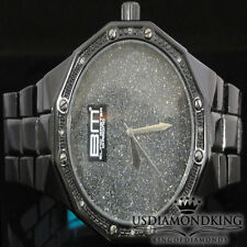 Men's Genuine Real Diamond Black Gold Finish BlingMaster Wrist Metal Band Watch