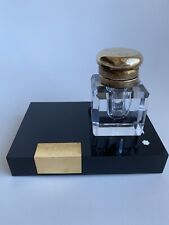 Montblanc Lead Crystal Inkwell with Brass Lid & Stand - Desk Accessories Germany
